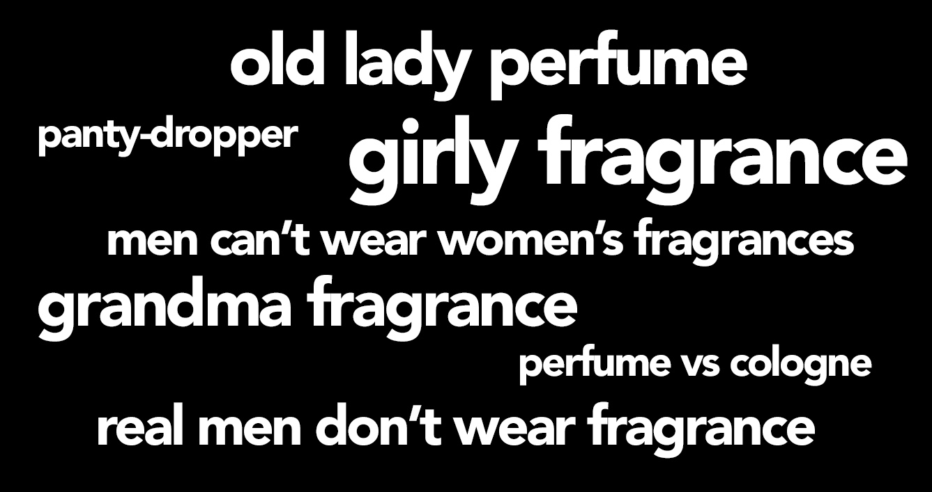 a series of sexist perfume-related tropes like old lady perfume and real men don't wear fragrance in white letters against a black background
