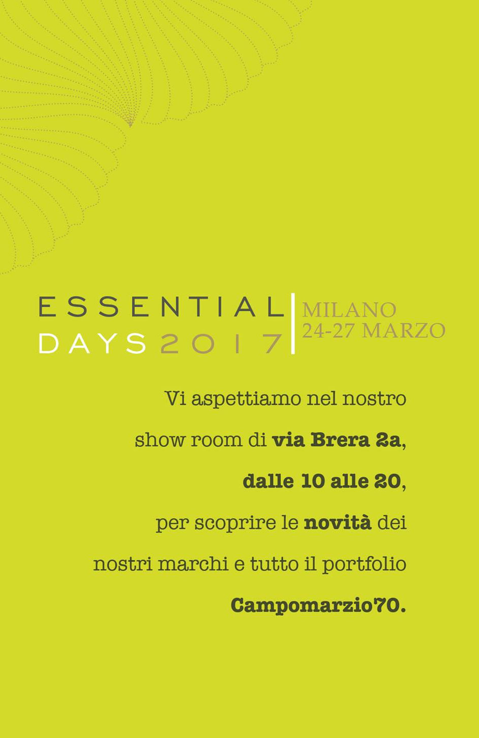 campomarzio 70 essential days 2017, milano