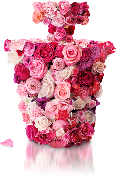 Perfume bottle made of flowers
