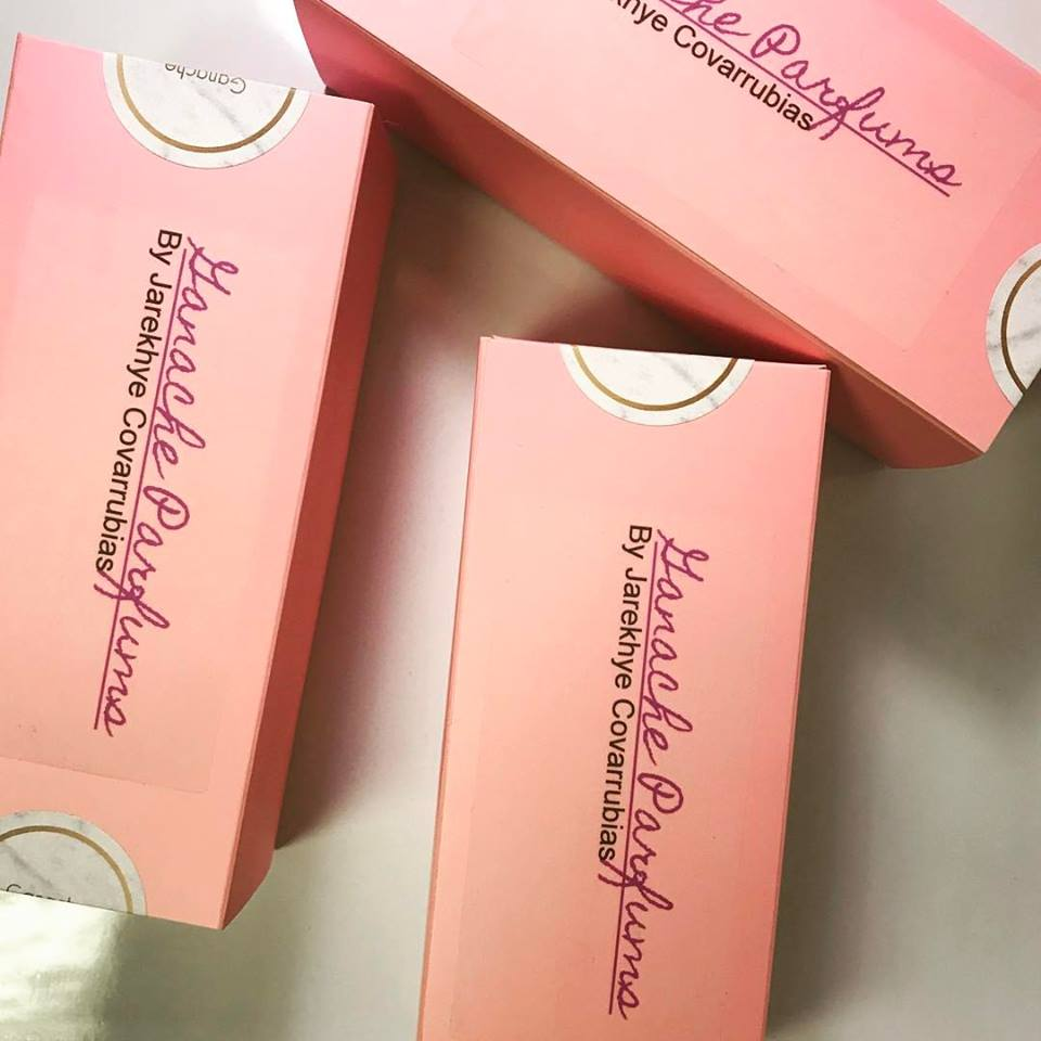 Ganache Parfums in pink boxes with silver labels