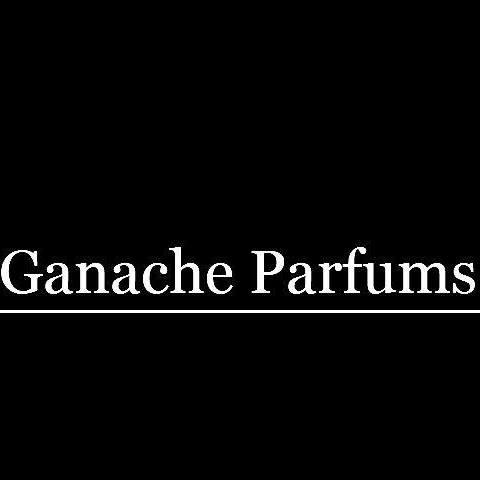 Ganache Parfums logo in white against a black bacground