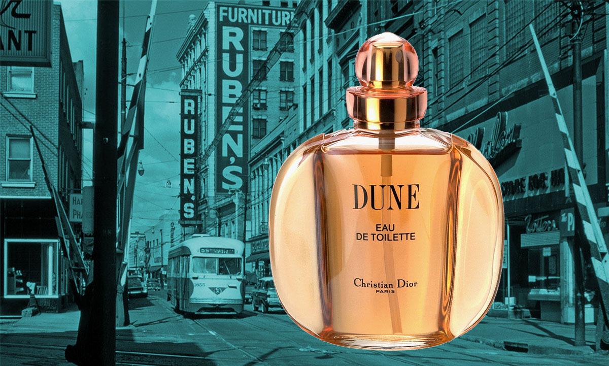 Dune Perfume in retro urban setting