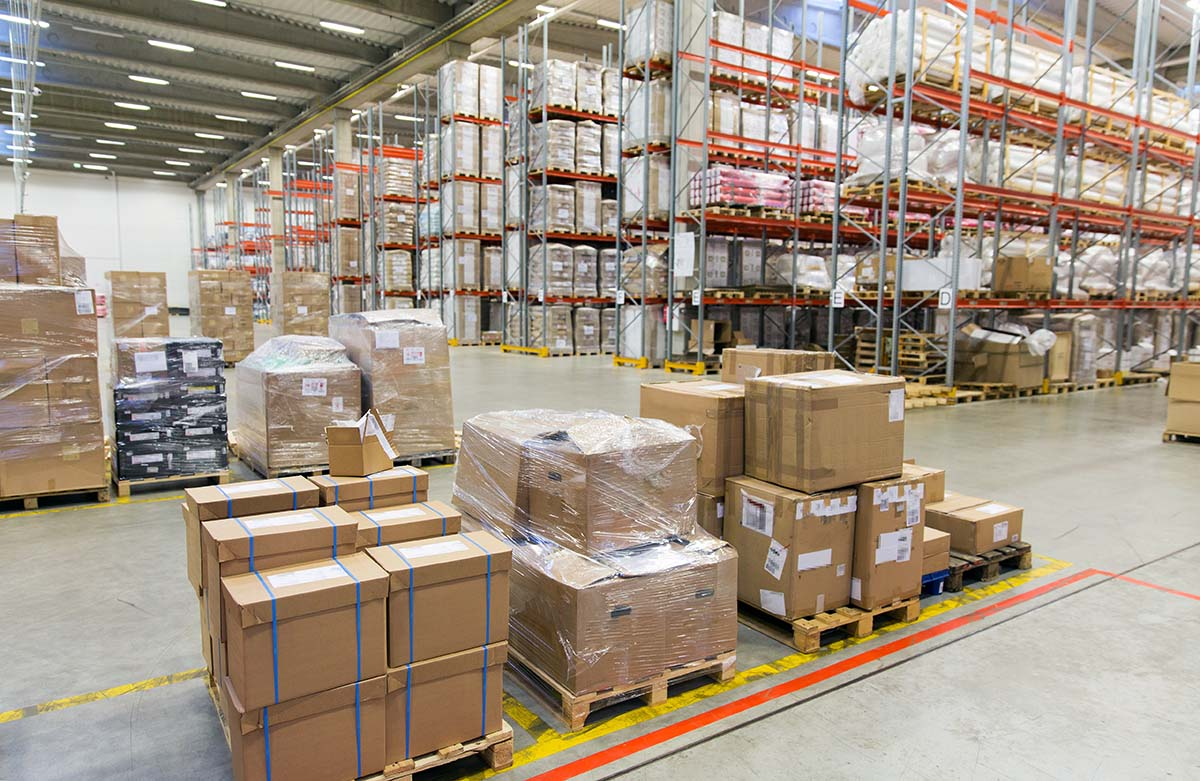 Huge warehouse of boxes