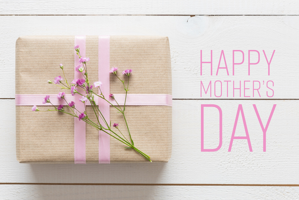 Happy Mother's Day  wrapped gift wth flowers