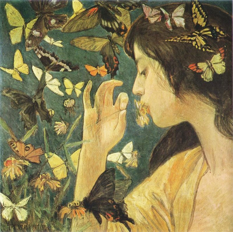 Woman and Butterflies from a mural by Phoebe Traquair