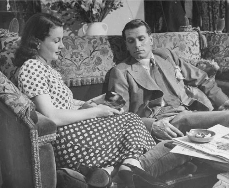 Vivien Leigh, Laurence Olivier, and a cat