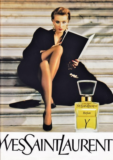 vintage Y by YSL ad with black dress