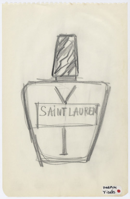 Research sketch of the bottle for the fragrance Y, 1964  © Musée Yves Saint Laurent Paris