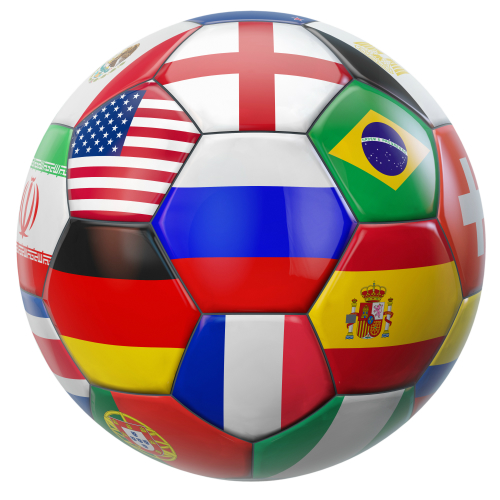 Soccer ball with flags of different countries