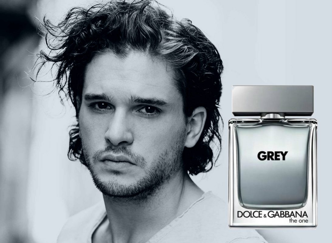 5593d94a824b11 Kit Harington and bottle of Dolce Gabbana The One Grey