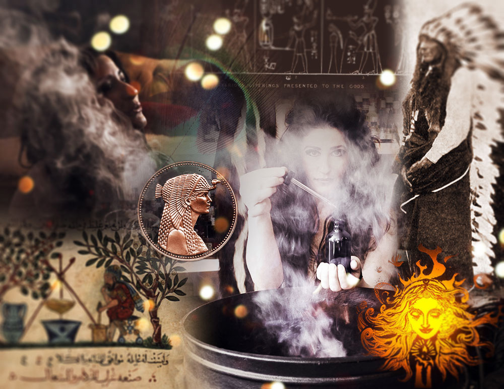 collage of images with smoke and symbols by House of Matriarch