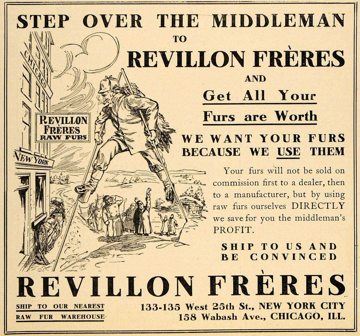 Revillon Freres ad in US newspaper