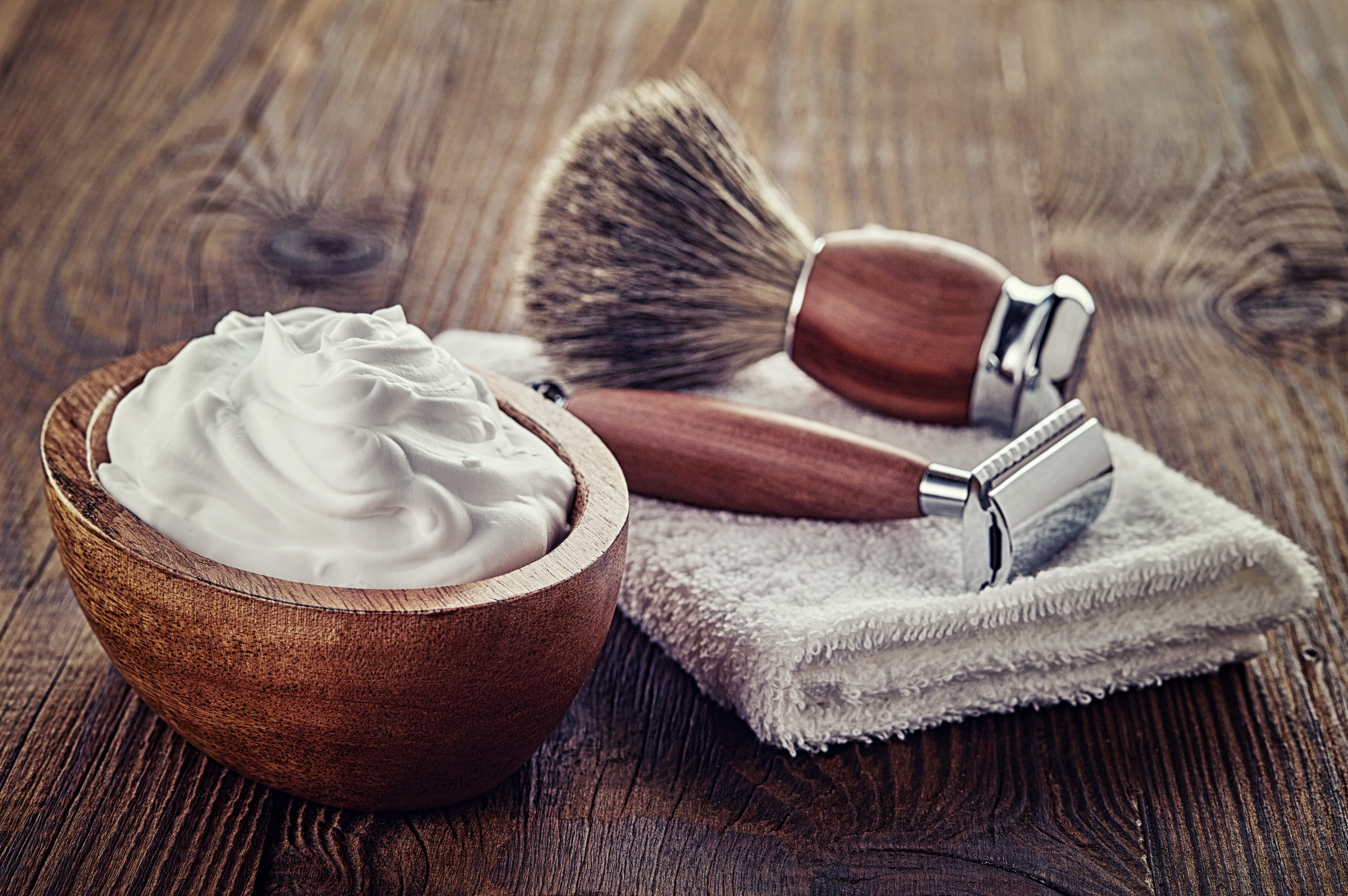 At the barber's shaving foam and brush