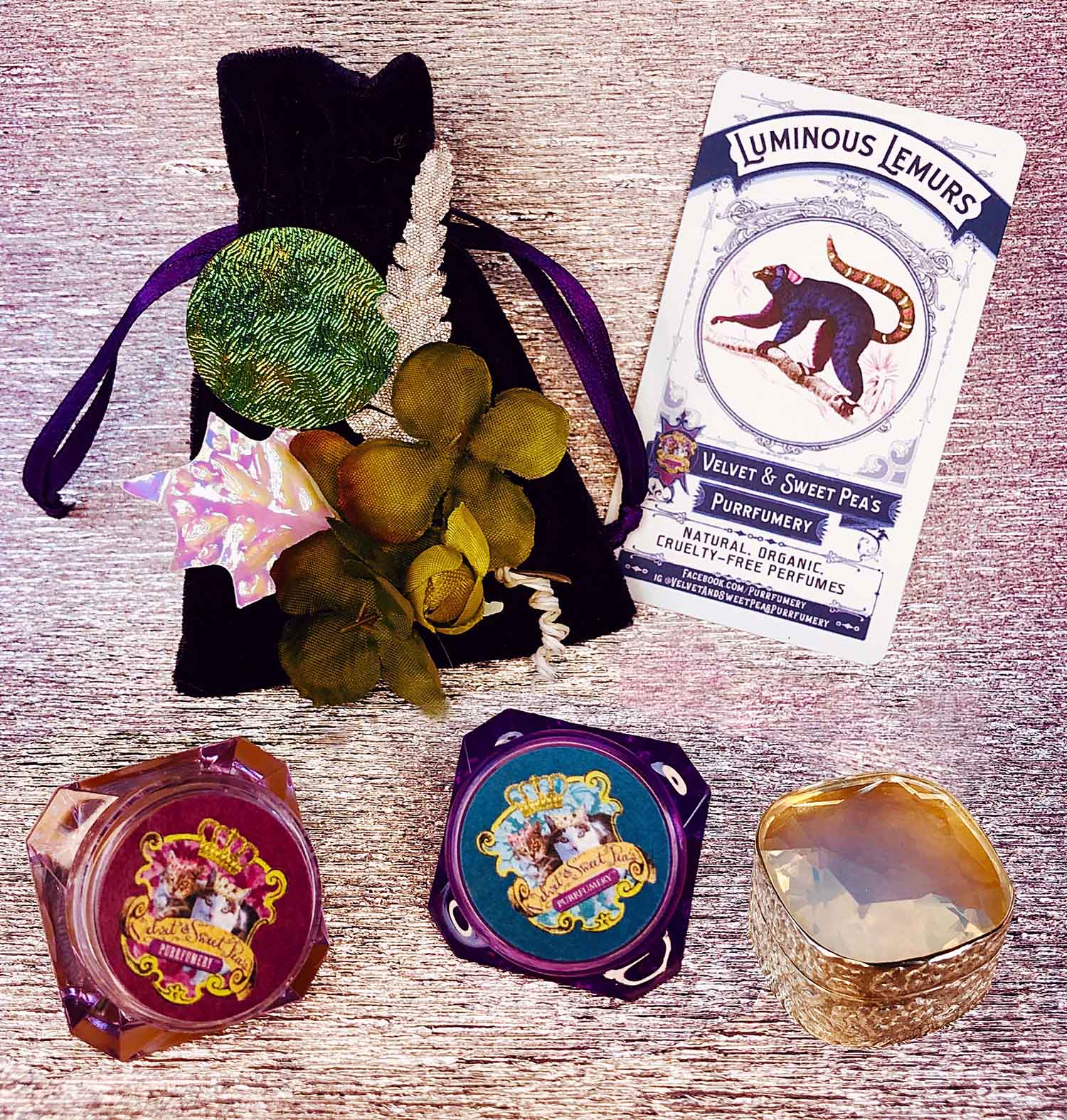 Velvet and Sweet Pea's Purrfumery's Luscious Lemur Solid Perfume.
