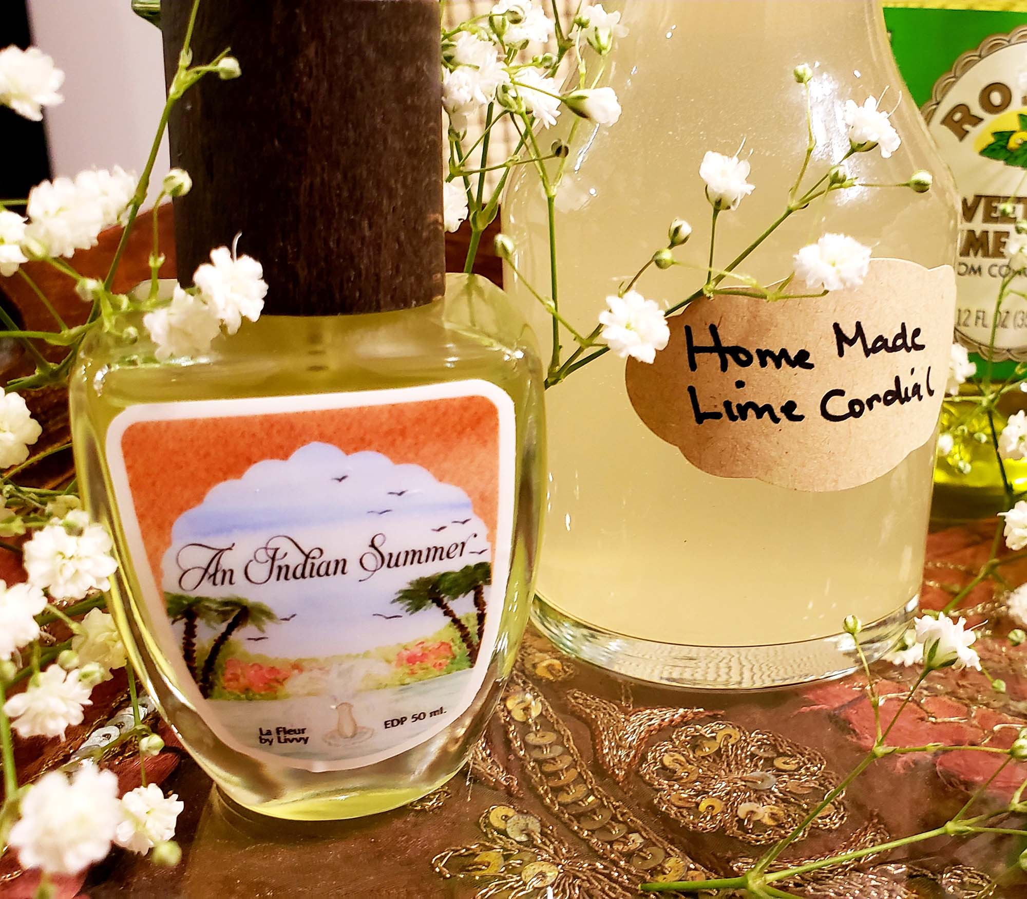 Indian Summer Perfume next to Lime Cordial.