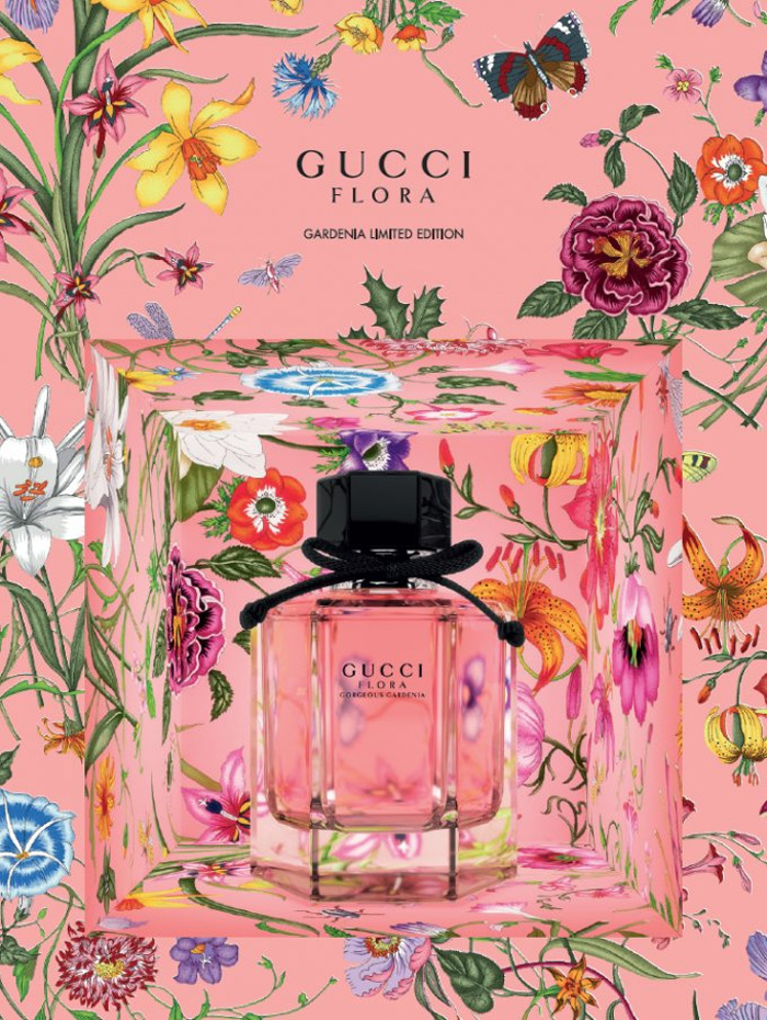 """Kết quả hình ảnh cho """"A limited edition scent from the Flora collection. Tinted pink, the fragrance is presented in limited edition packaging highlighting flora and fauna from the botanical Flora print. The feminine scent is comprised of notes of red berries, white gardenia, patchouli and brown sugar"""" — press release of the brand. Flora Gorgeous Gardenia Limited Edition was launched in 2017."""